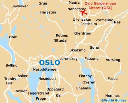 Mapa do aeroporto de Oslo Gardermoen