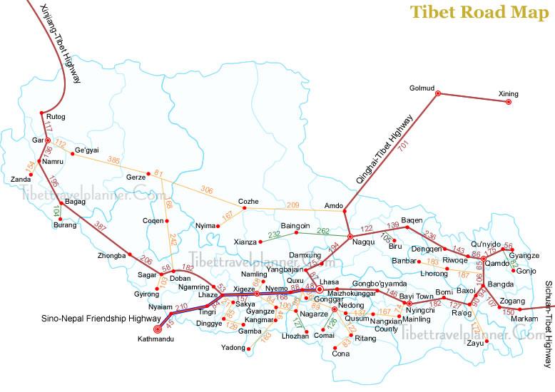 Mapa de Estradas Tibete China
