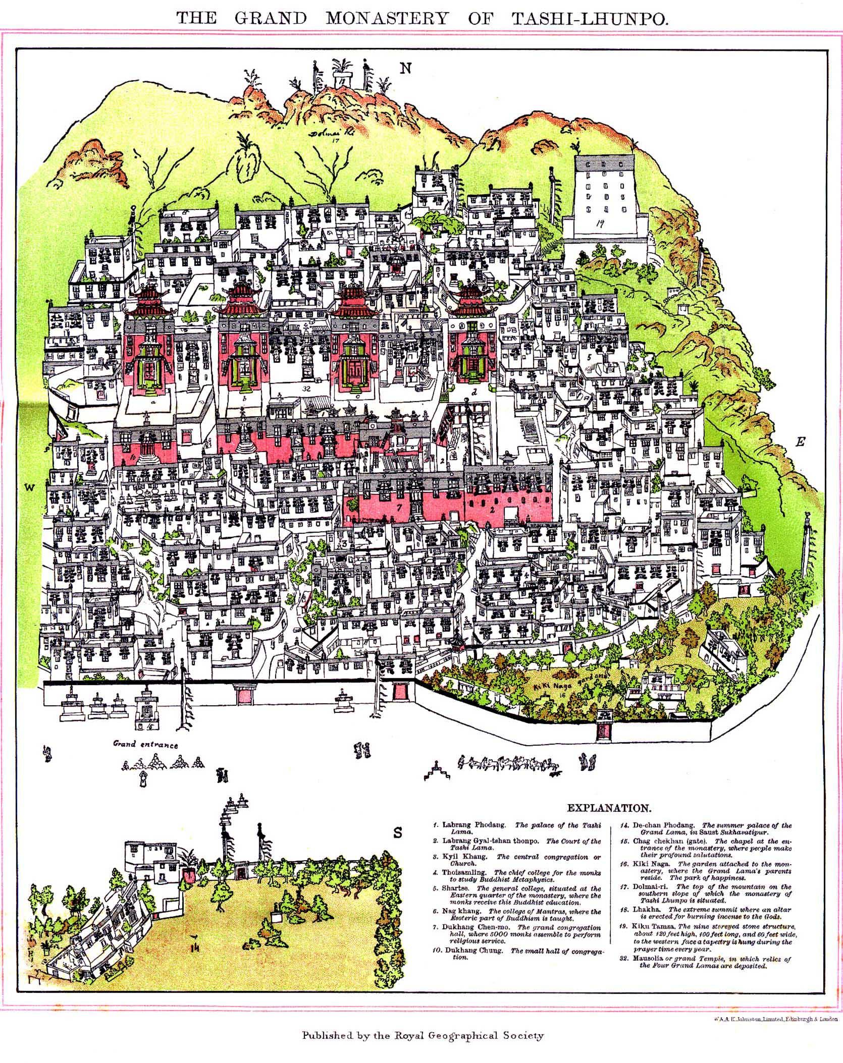 Mapa do Mosteiro Tashilhunpo em Shigatse, Tibete