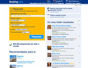 Site para encontrar hoteis - booking.com