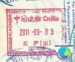 Carimbo Tibete China (aeroporto)