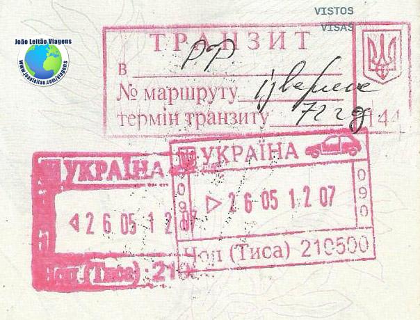 Stamp Ukraine Transit (pink/car)