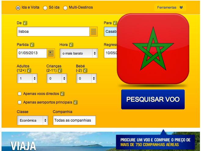 Comprar bilhete de aviao para Marrocos