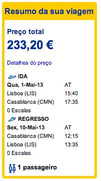 Bilhete avião Lisboa Casablanca em Marrocos