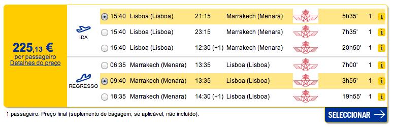 Bilhete avião Lisboa Marrakech em Marrocos