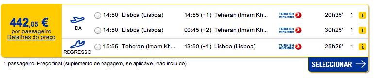Bilhete aviao Lisboa Teerao no Irao