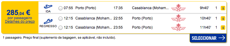 Bilhete avião Porto Casablanca em Marrocos