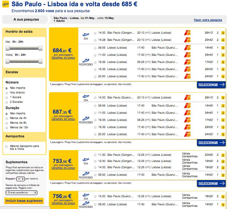 Resultados precos de bilhete de aviao Brasil ate Portugal