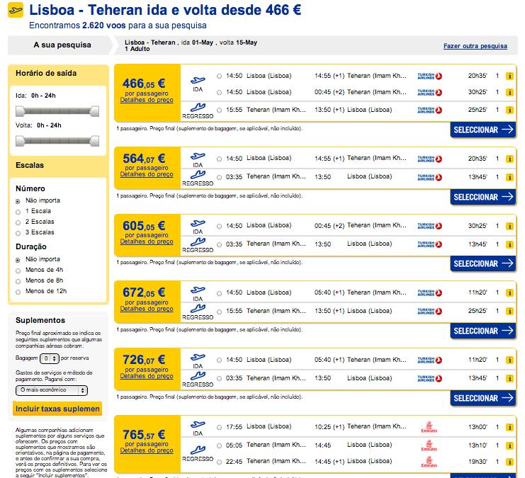 Resultados precos de bilhete de aviao Portugal ate Irao