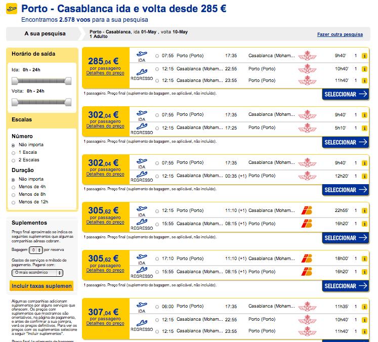 Resultados preços de bilhete de avião Portugal até Marrocos