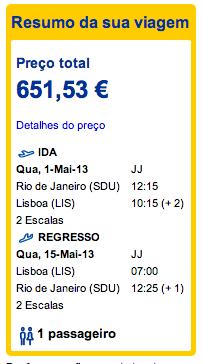 Bilhete aviao Rio de Janeiro Lisboa em Portugal