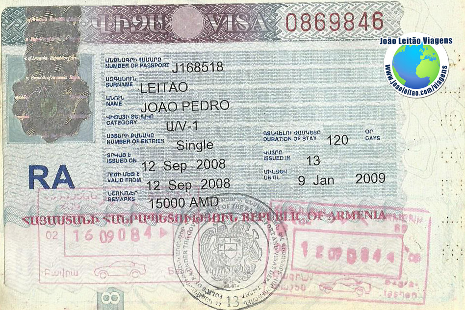 Visa Armenia (border)