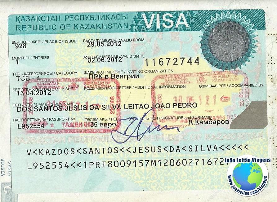 Visto Cazaquistao (embaixada Viena)
