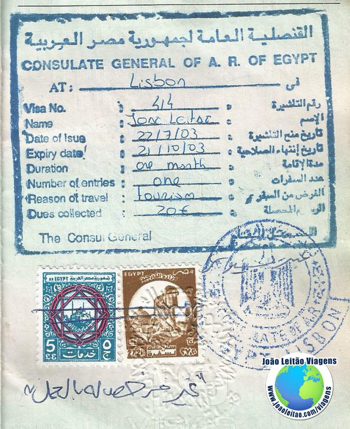 Visto Egipto (embaixada em Lisboa)