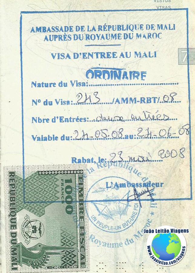 Visto Mali (embaixada em Rabat)
