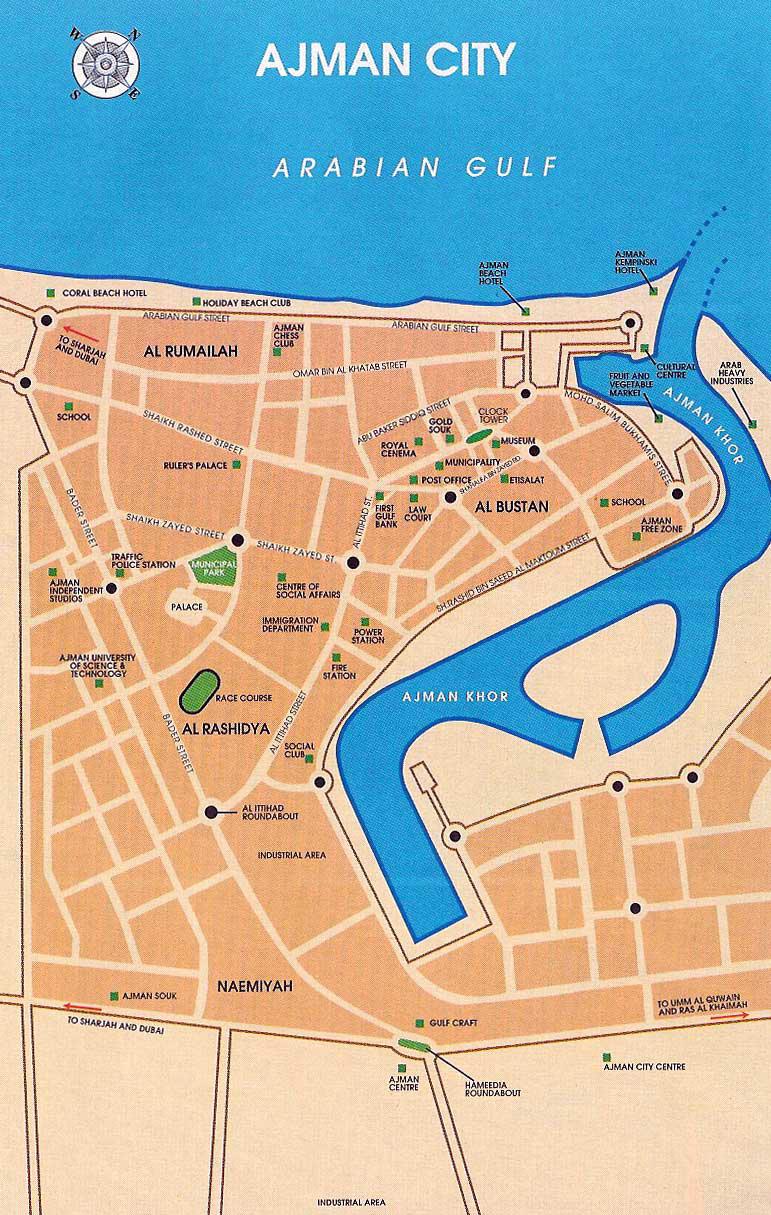 Mapa de Ajman, Emirados Árabes Unidos