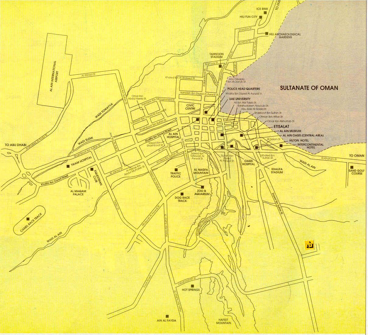 Mapa de Al Ain, Abu Dhabi EAU