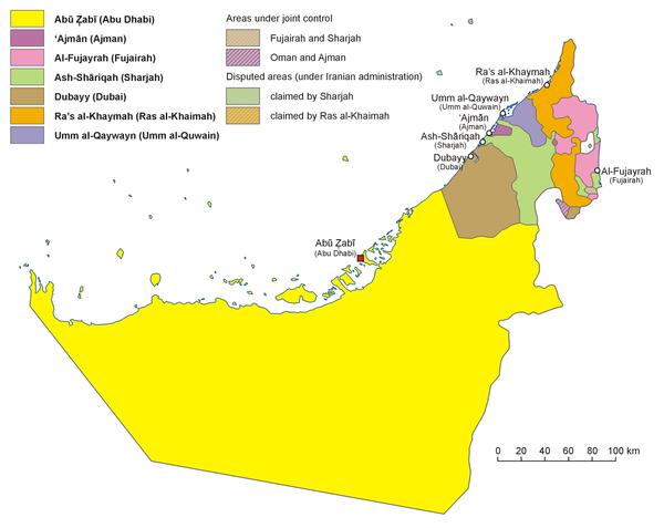 Mapa dos Emirados Árabes Unidos