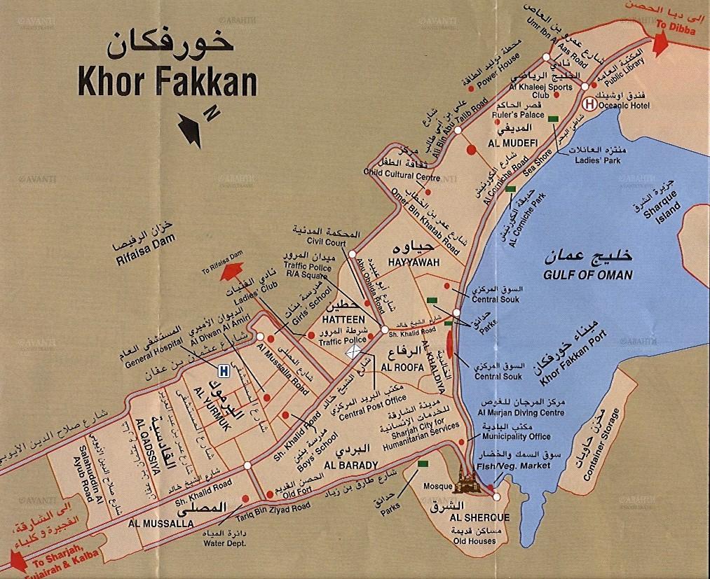 Mapa de Khor Fakkan, Sharjah, Emirados Árabes Unidos
