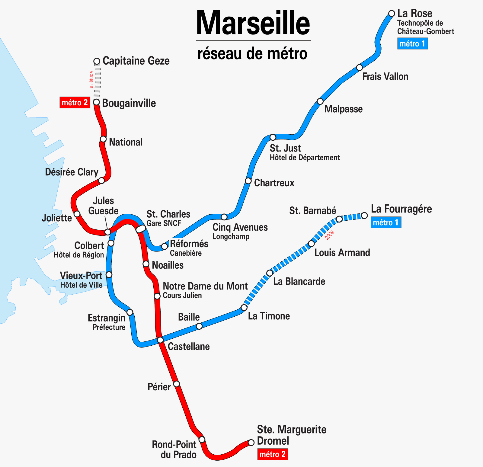 Mapa Metro Marselha, França
