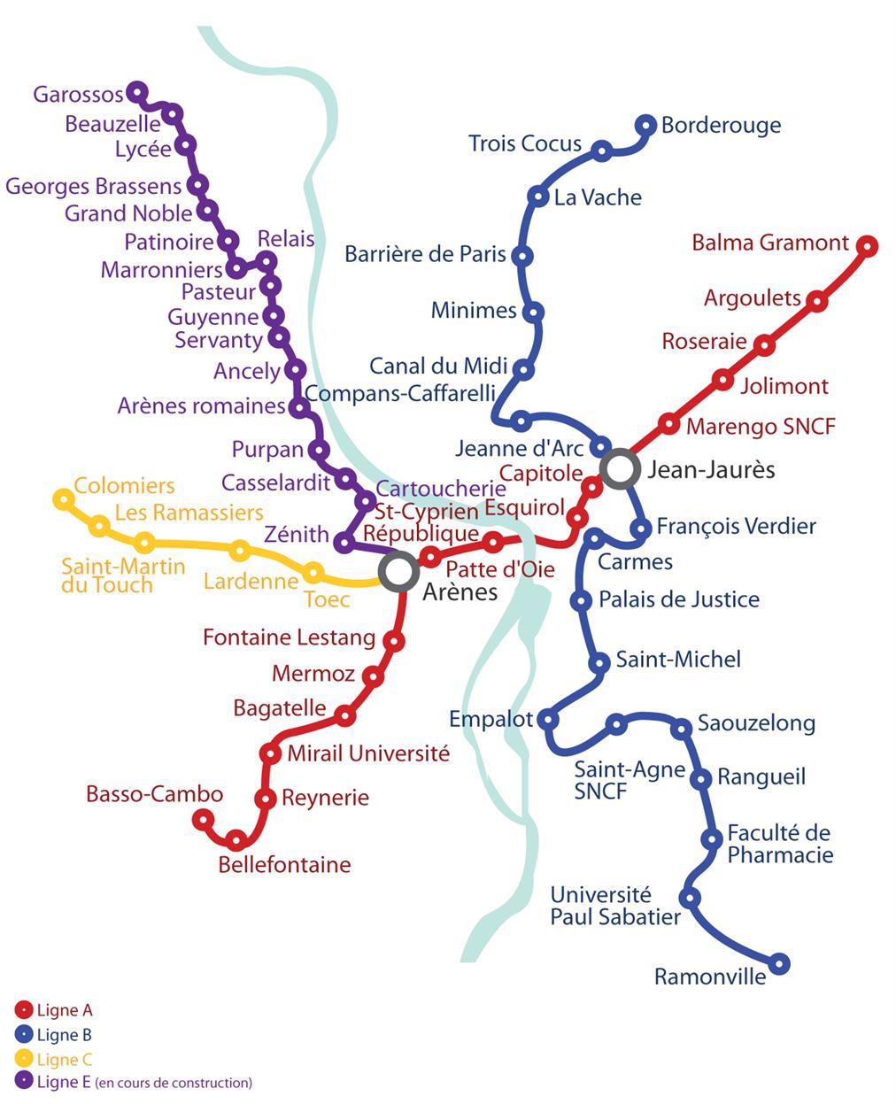 Mapa Metro Toulouse, França