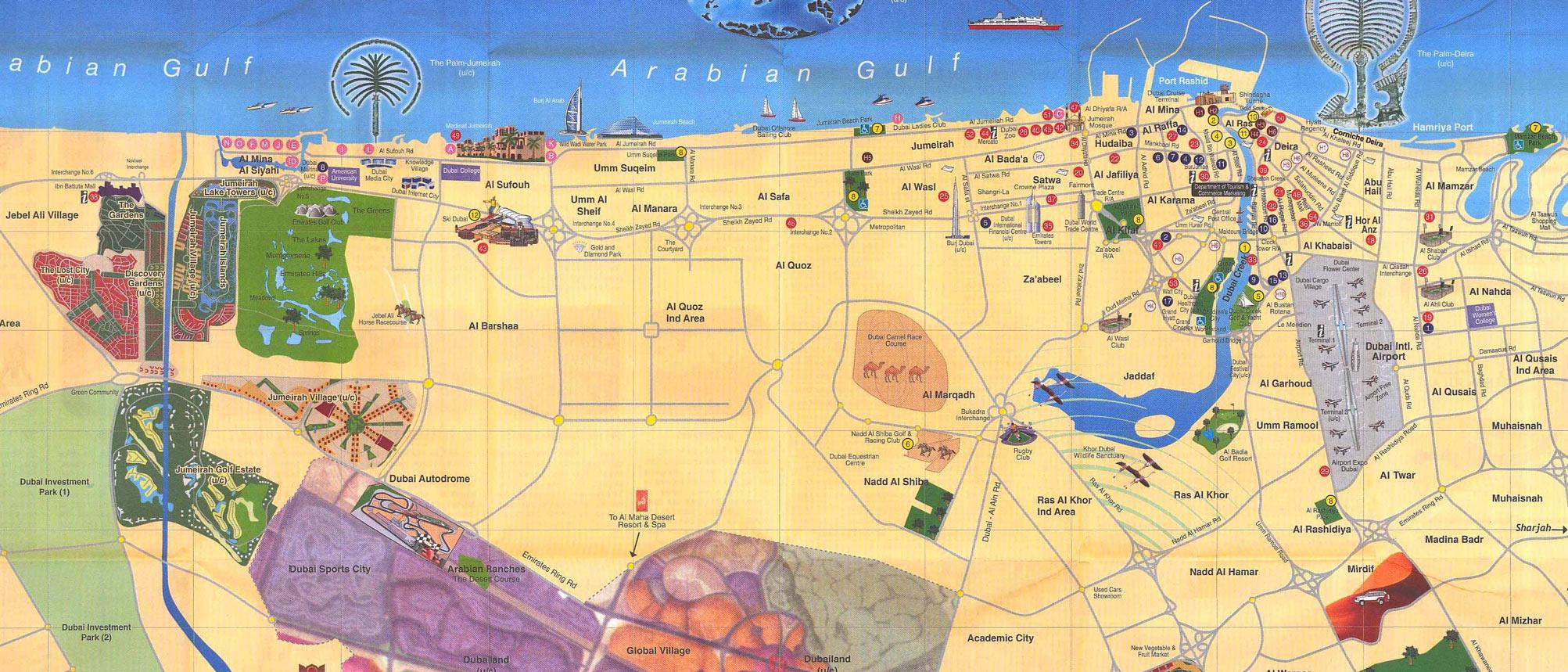Mapa Monumentos Dubai, Emirados Árabes Unidos