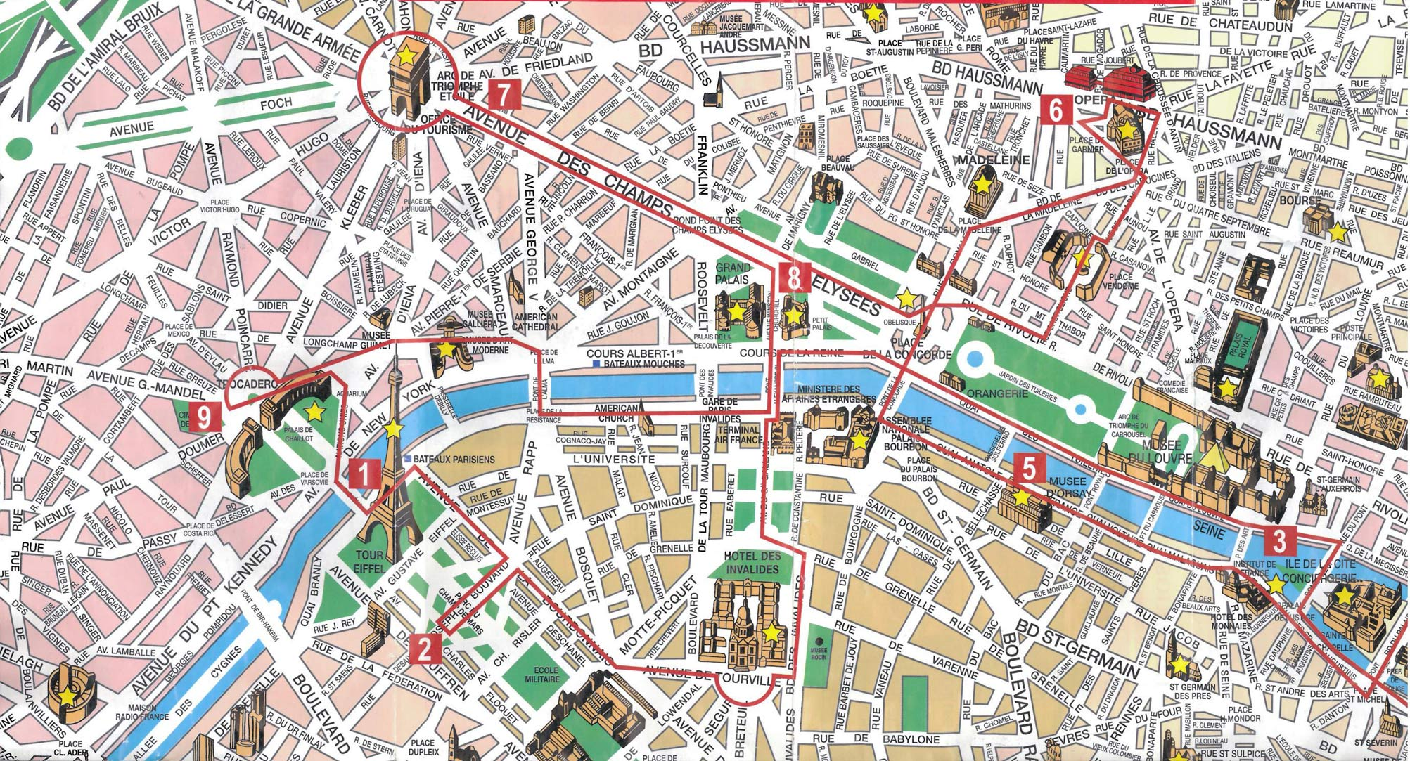 Mapa Monumentos Paris, França