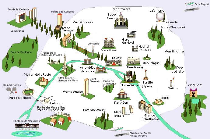 Mapa Estações do Metro de Paris, França