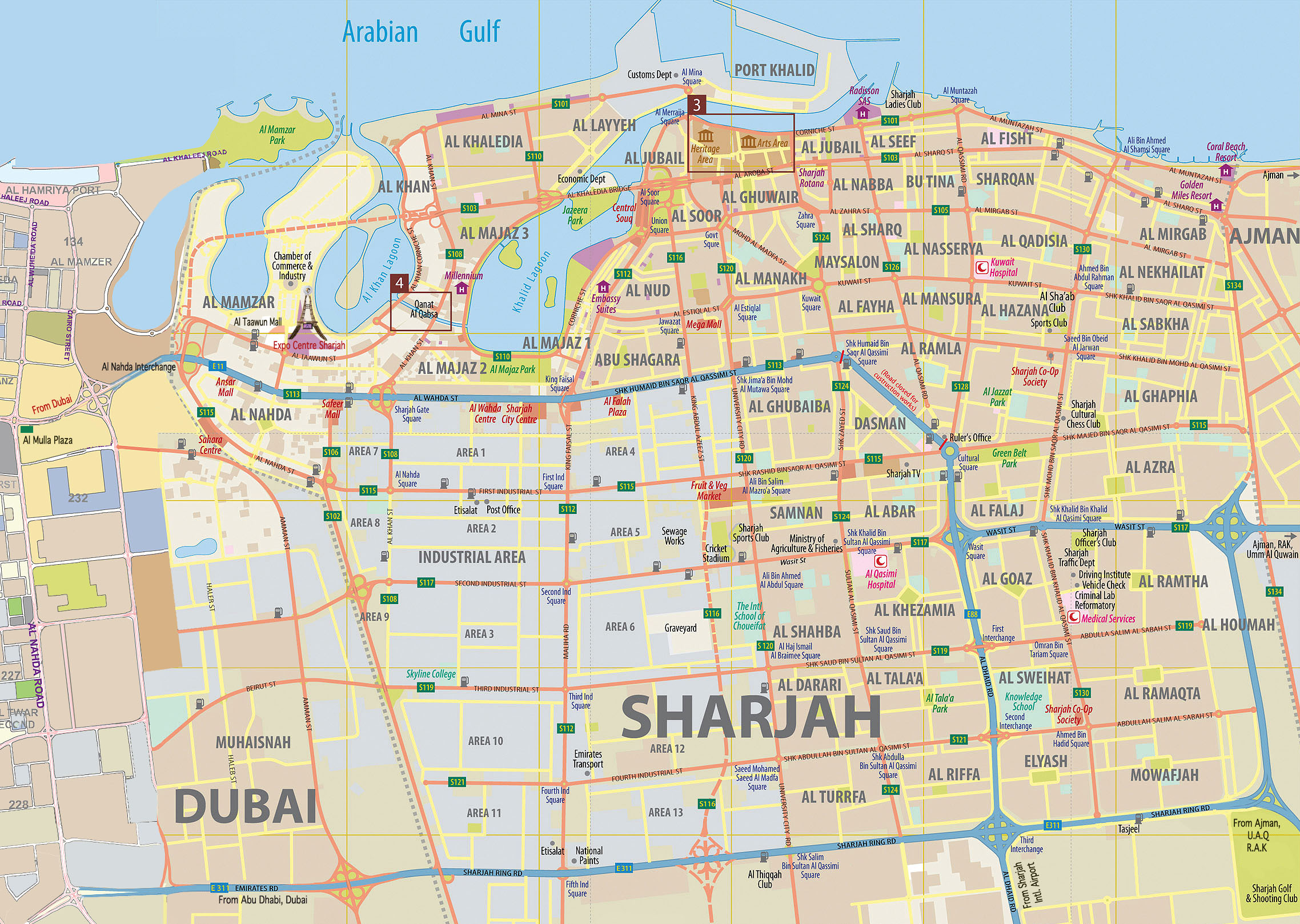 Mapa de Sharjah, Emirados Árabes Unidos