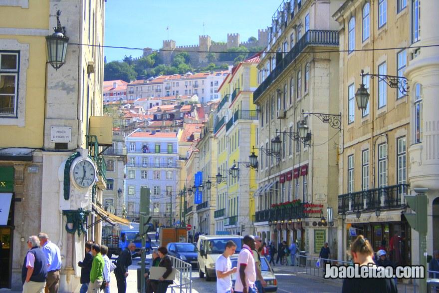 Foto  do começo da Baixa em Lisboa