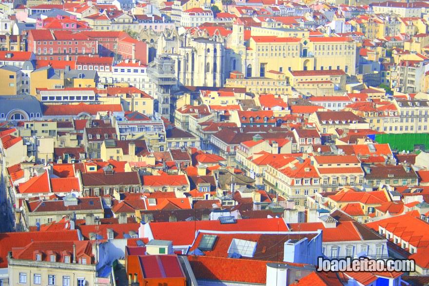 Foto da vista panorâmica da Baixa Pombalina vista do Castelo de São Jorge