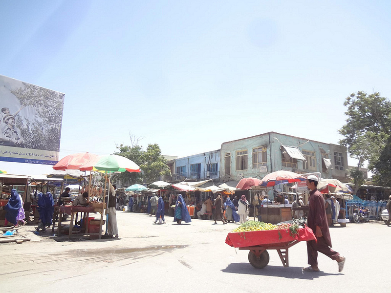 Fotografia do centro da cidade de Kunduz no Afeganistão