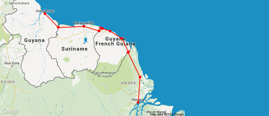 Mapa Viagem Guianas