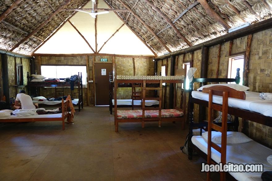 Dormitório do Hotel Leleuvia Island Resort nas Ilhas Fiji