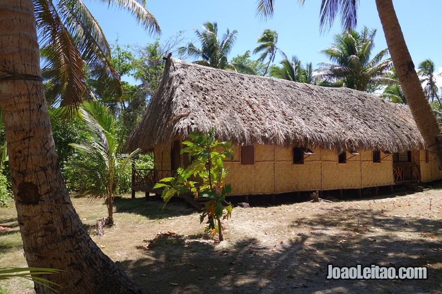 Bungalow Backpackers do Hotel Leleuvia Island Resort nas Ilhas Fiji