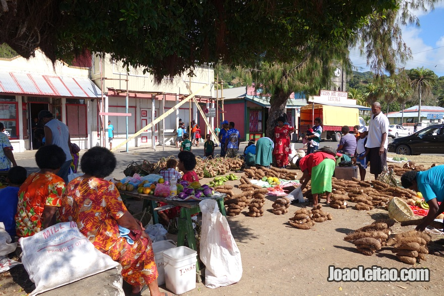Mercado de rua em Levuka na Ilha Ovalau nas Fiji