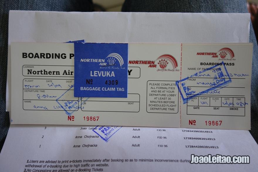 Bilhete e boarding pass do Avião desde Suva até Levuka nas Ilhas Fiji