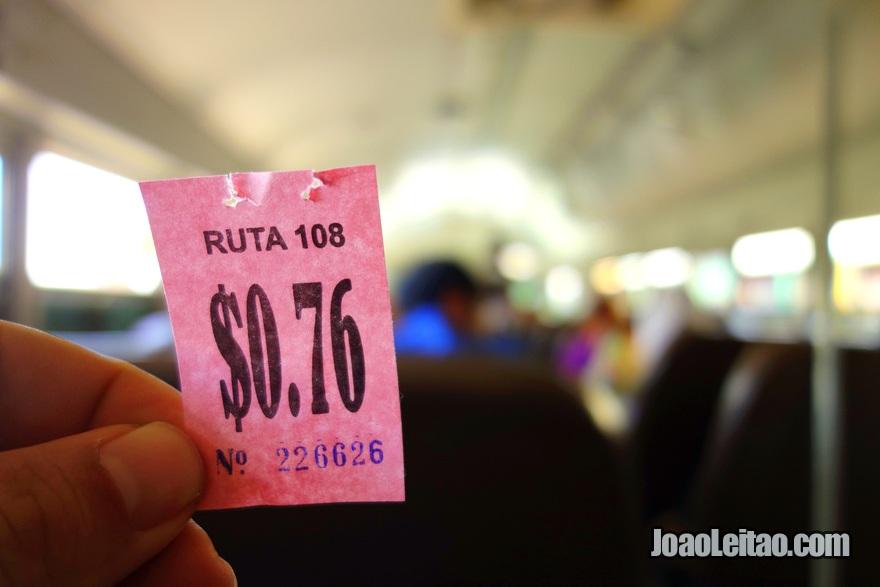 Bilhete do Autocarro San Salvador até Joya de Cerén, El Salvador