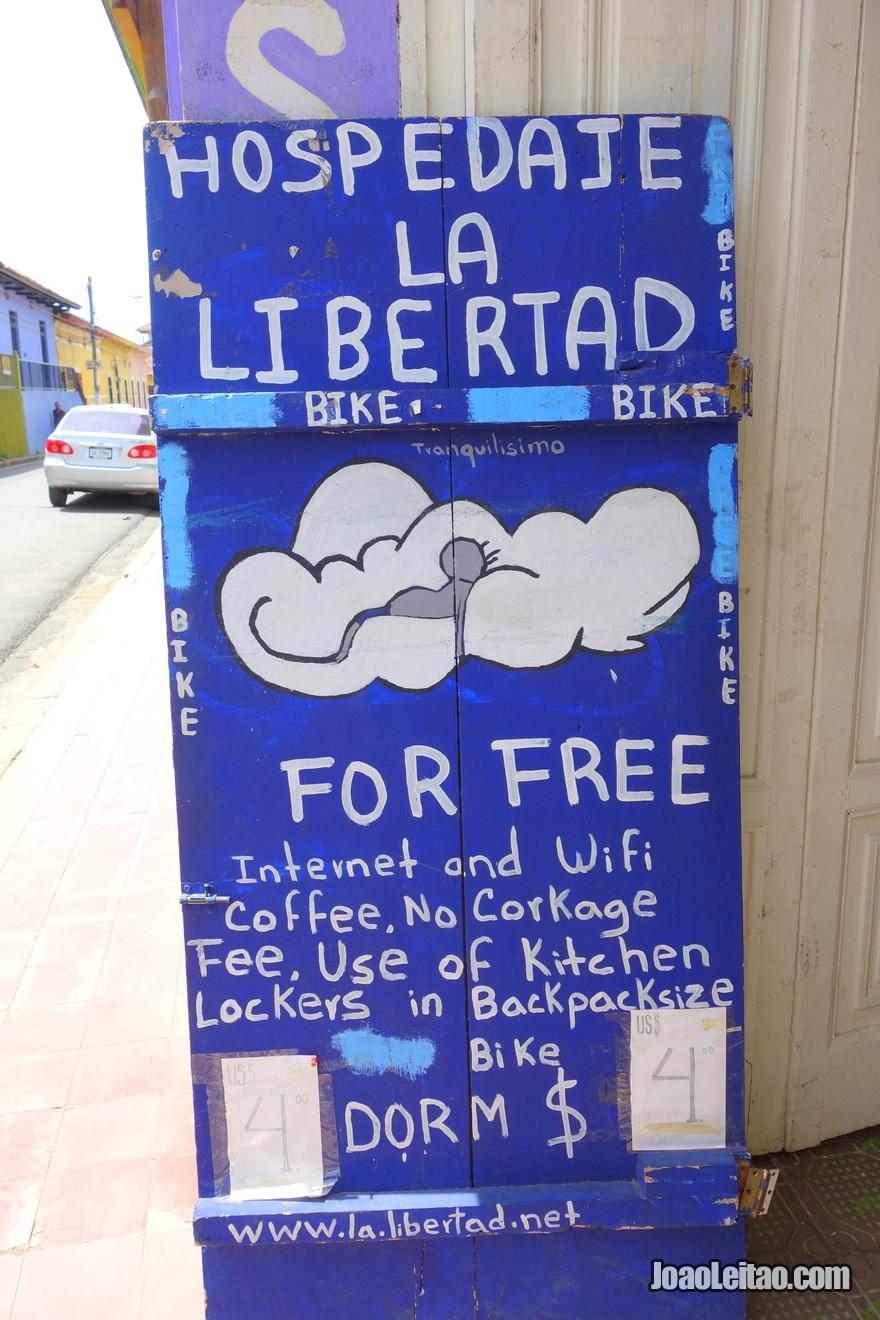 Placa da Hospedaje La Libertad em Granada, Nicarágua