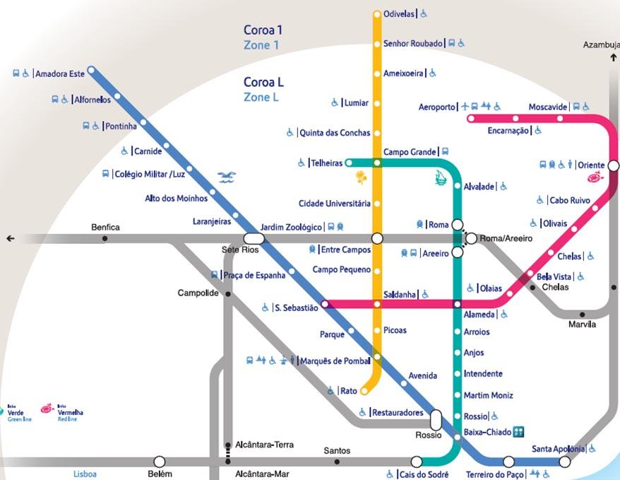 Mapa do Metro de Lisboa