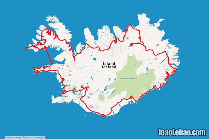mapa do anel viário + Península dos Fiordes Ocidentais – conduzir pela Islândia