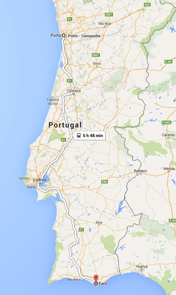 Mapa do percurso de comboio Porto a Faro