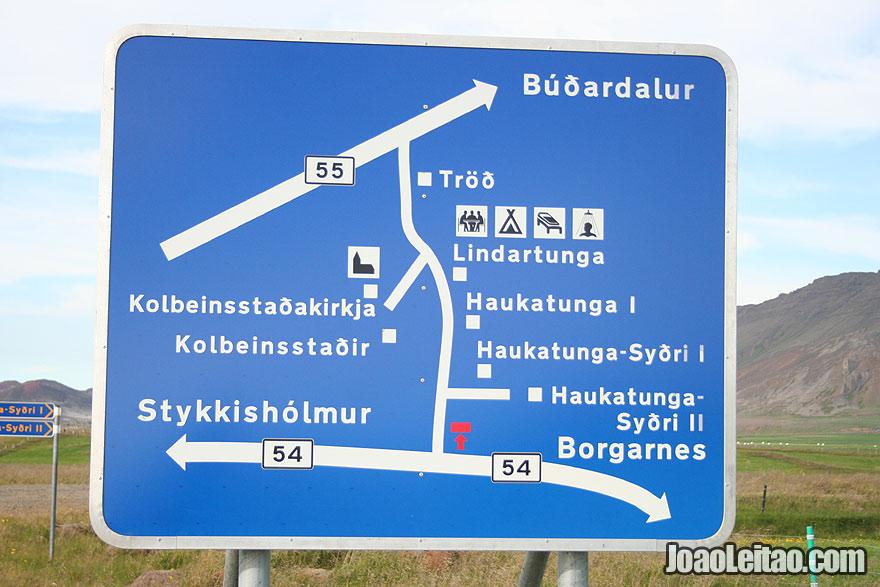 Sinalização de estrada na Islândia