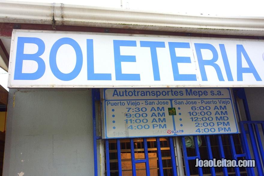 Horários do Autocarro Puerto Viejo até San José Costa Rica