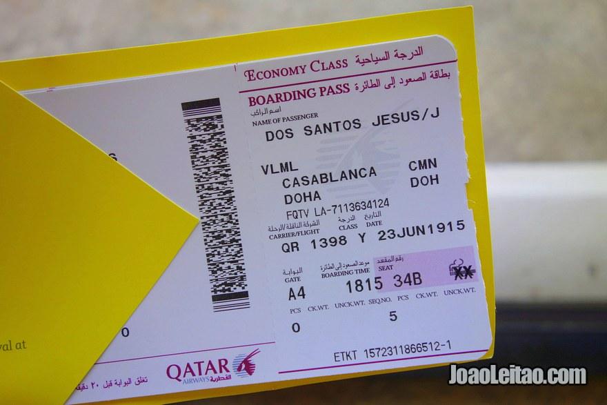 Cartão de embarque também chamado de boarding pass