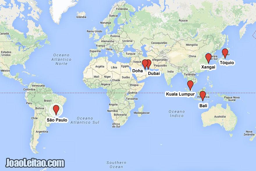 Mapa dos destinos das promoções de avião