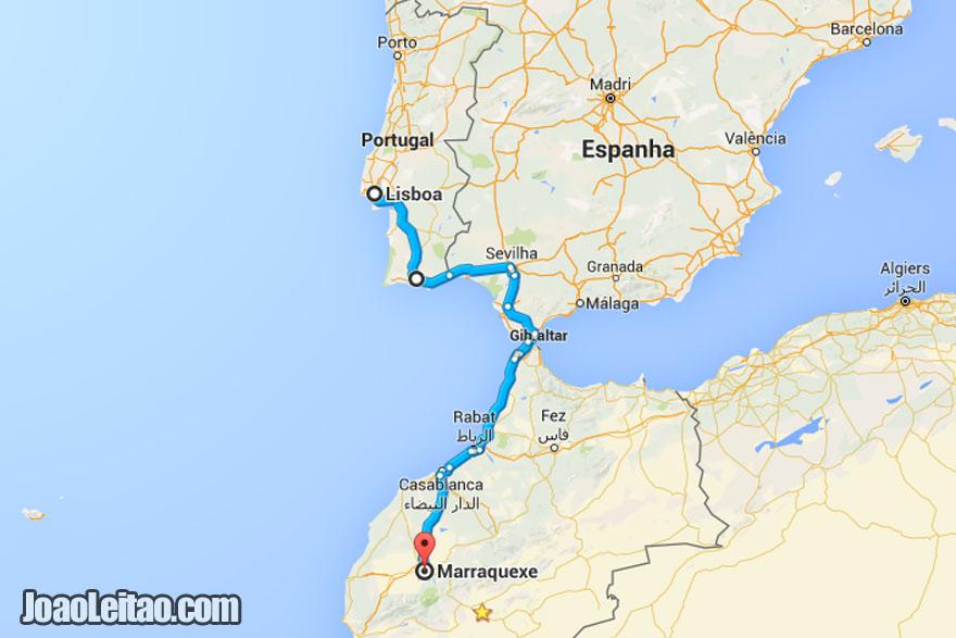 Mapa Itinerário Lisboa – Marraquexe