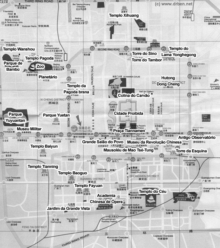 Mapa dos melhores destinos de Pequim