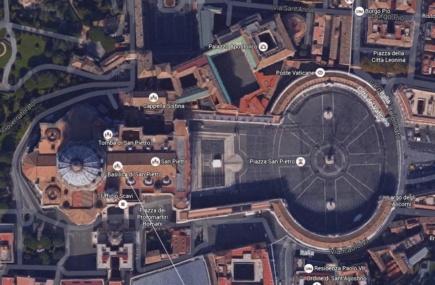 Imagem satélite da Praça de São Pedro