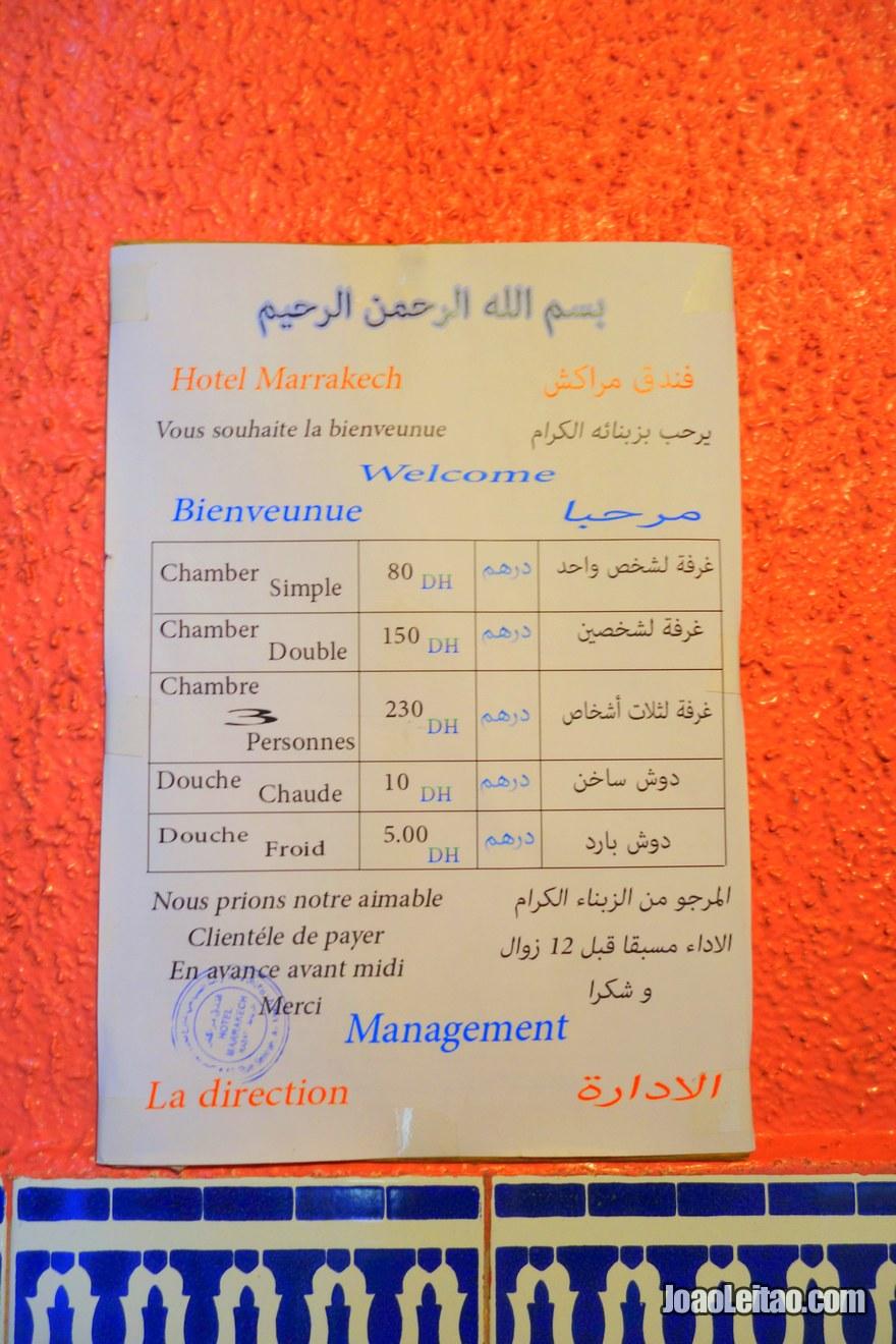 Lista de preços do Hotel de Marrakech em Rabat, Marrocos